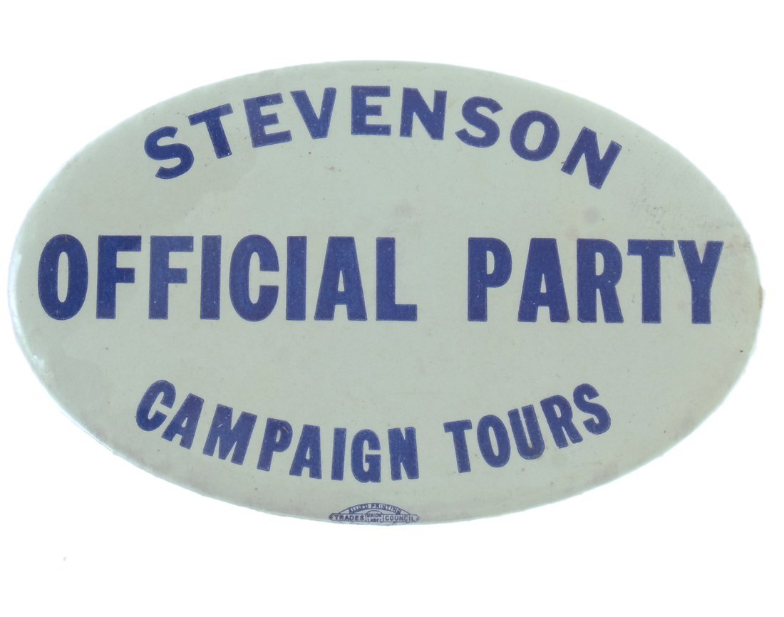 """Adlai Stevenson 1956 Oval """"Official Party"""" Button"""