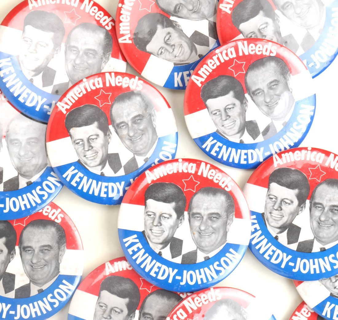 "Kennedy & Johnson 1960 Campaign 3-1/2"" Jugates - 6"