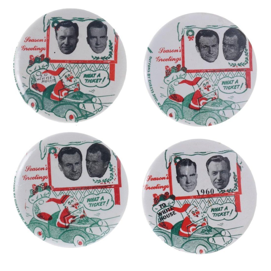 "Rockefeller & Nixon 1960 ""Hopeful"" Christmas Buttons"