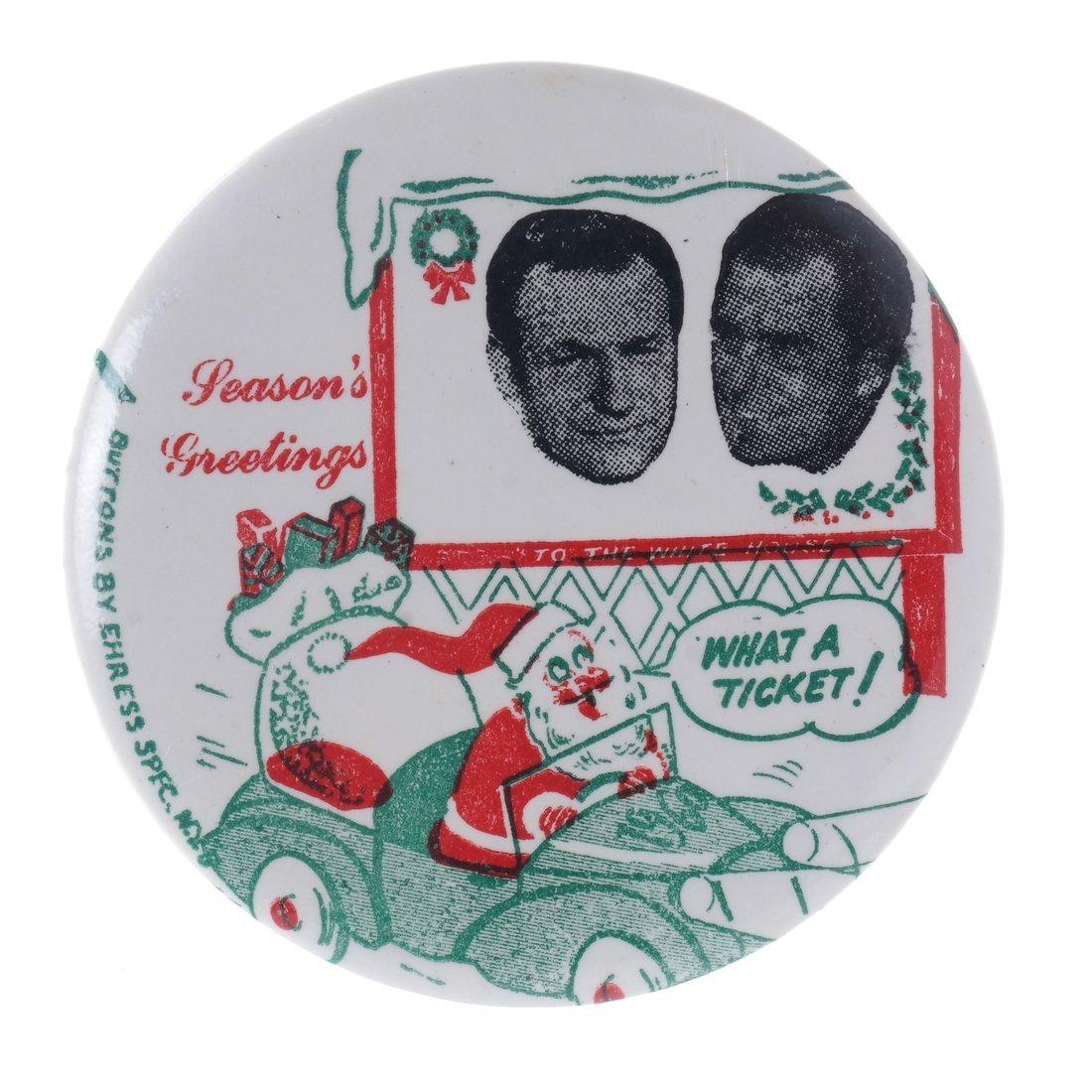 "Rockefeller & Nixon 1960 ""Hopeful"" Christmas Buttons - 4"