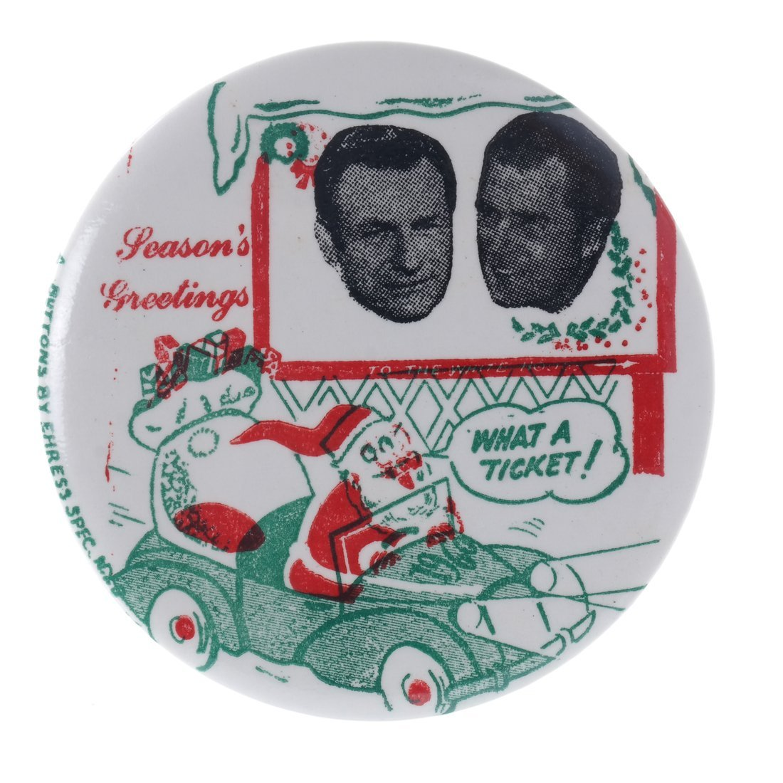"Rockefeller & Nixon 1960 ""Hopeful"" Christmas Buttons - 5"