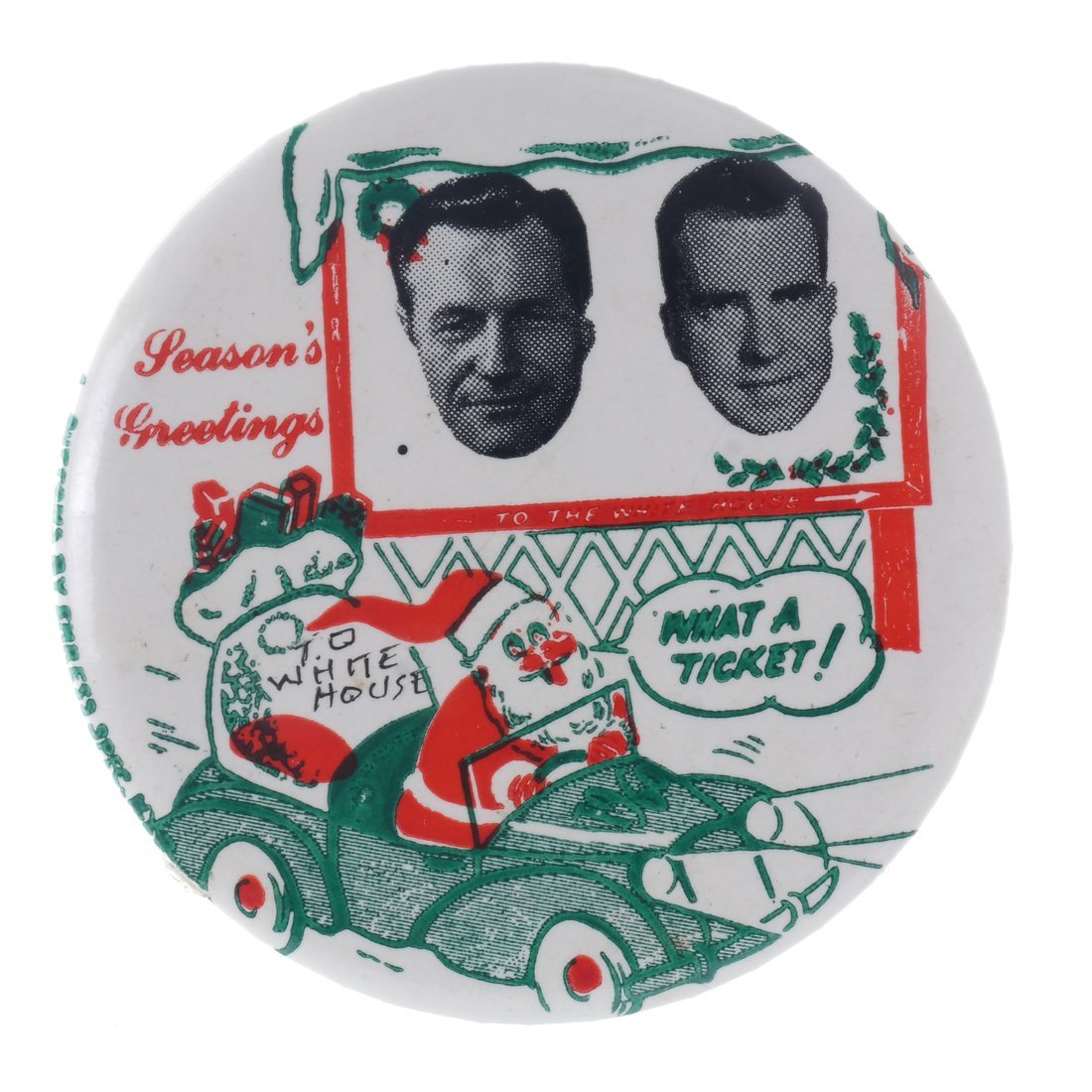 "Rockefeller & Nixon 1960 ""Hopeful"" Christmas Buttons - 6"