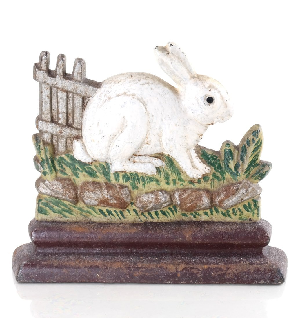 Two Painted Cast Iron Rabbits - 10