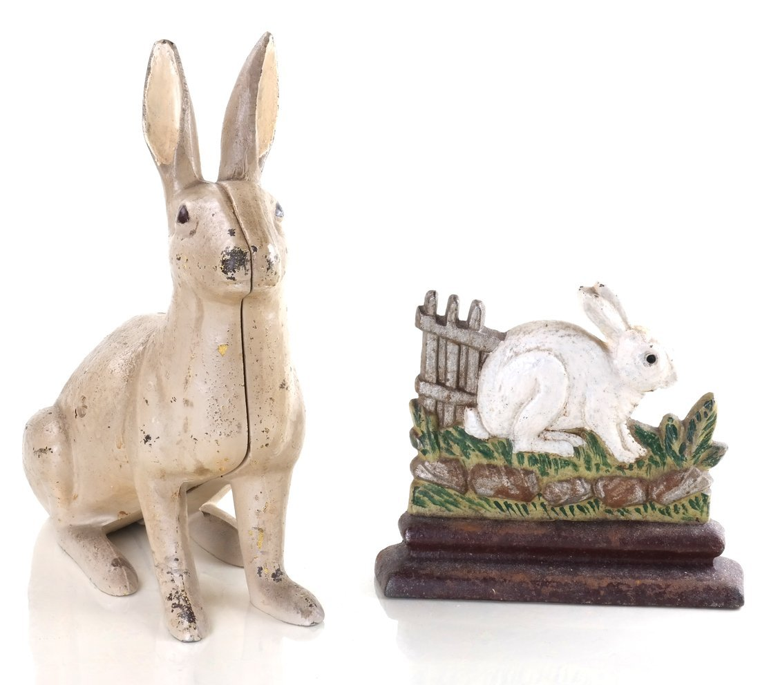 Two Painted Cast Iron Rabbits