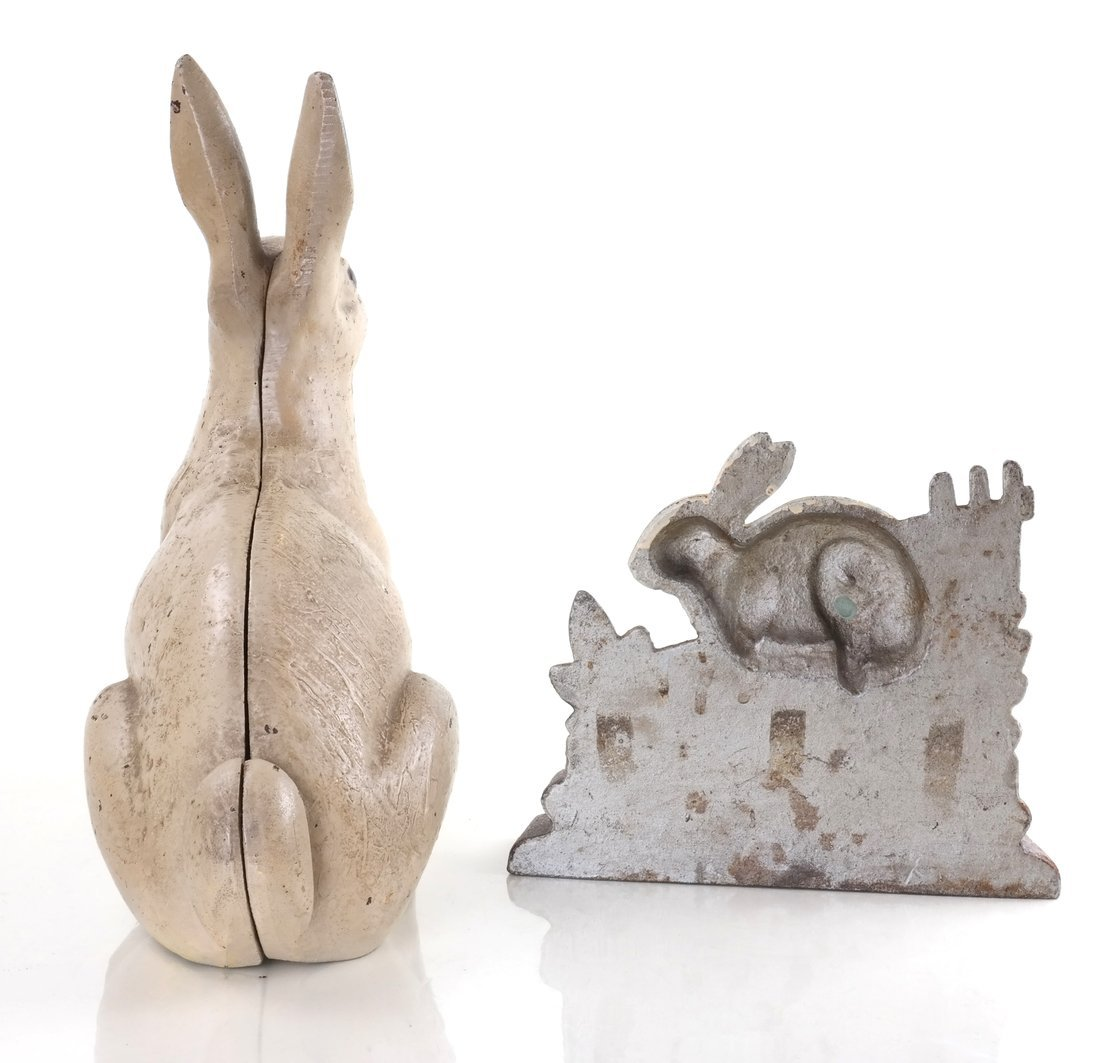 Two Painted Cast Iron Rabbits - 2