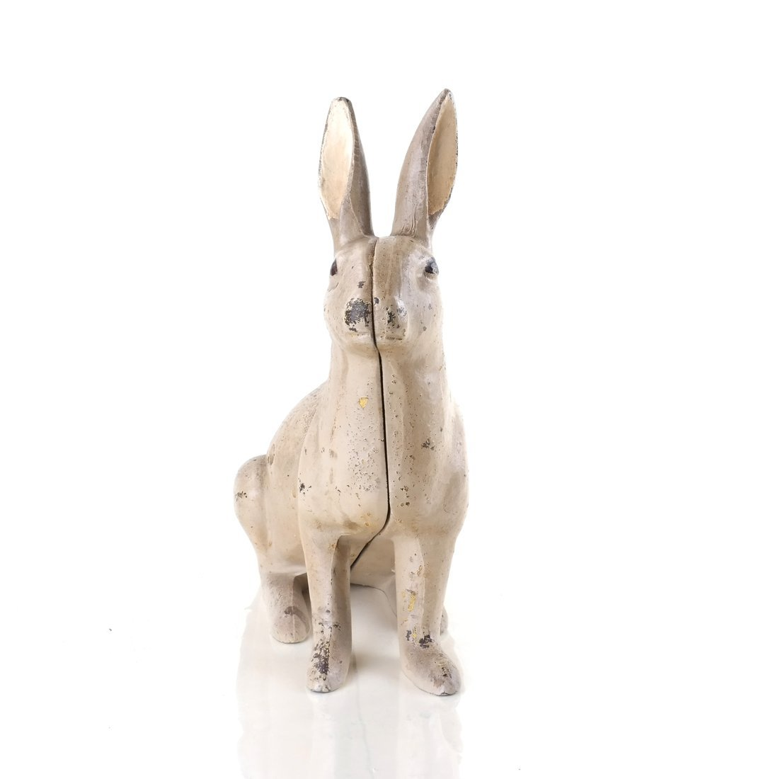 Two Painted Cast Iron Rabbits - 6