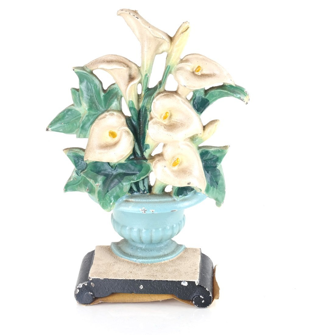 Two Identical Cast Iron Lilies in Urns Doorstops - 10