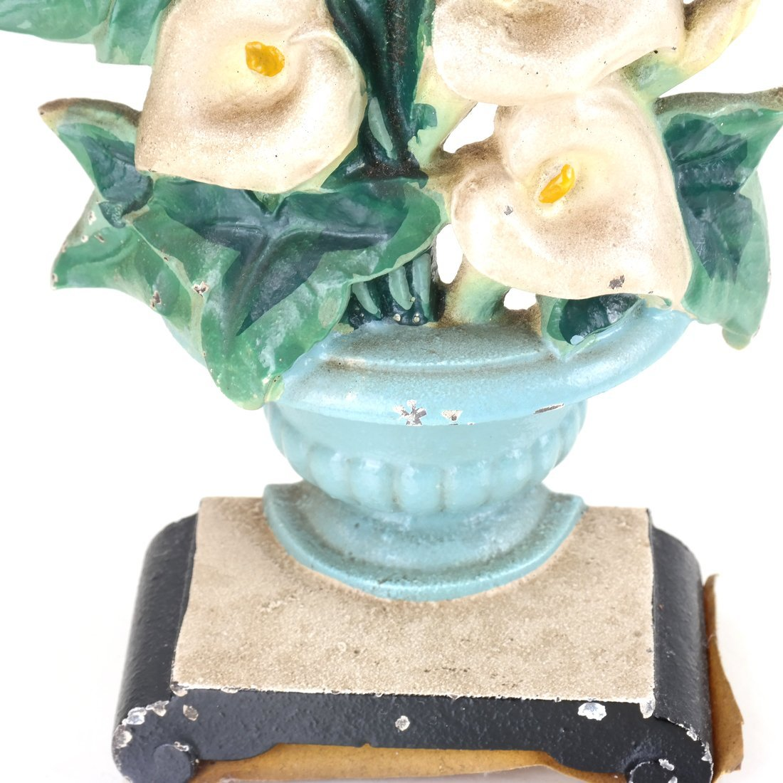 Two Identical Cast Iron Lilies in Urns Doorstops - 2