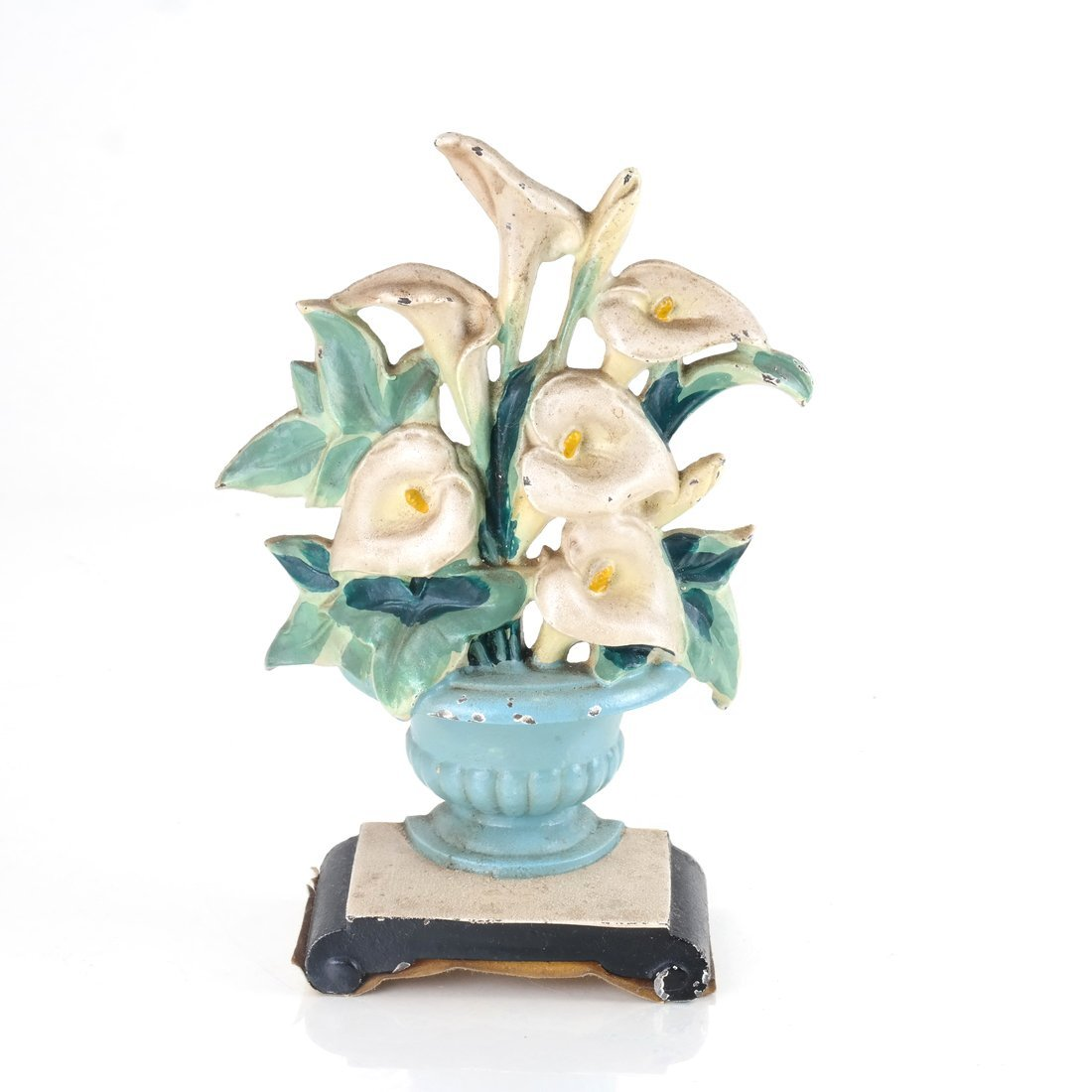 Two Identical Cast Iron Lilies in Urns Doorstops - 7