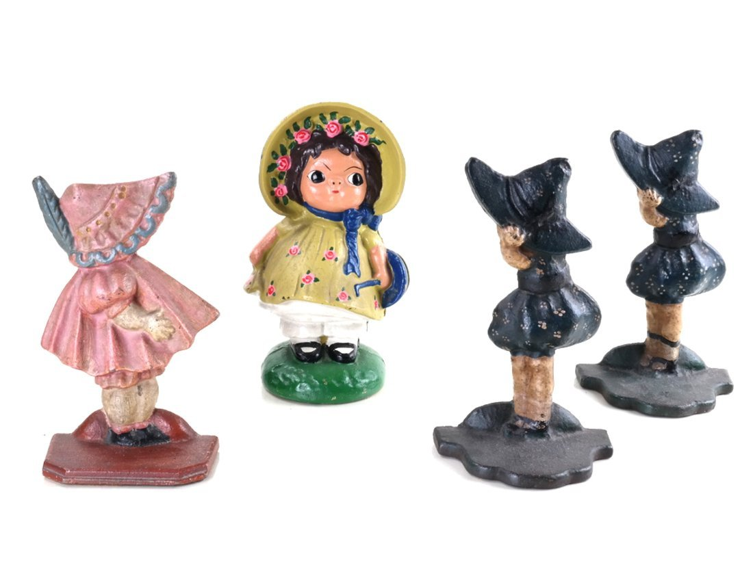 Four Painted Cast Iron Figural Bookends