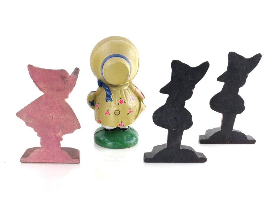 Four Painted Cast Iron Figural Bookends - 3