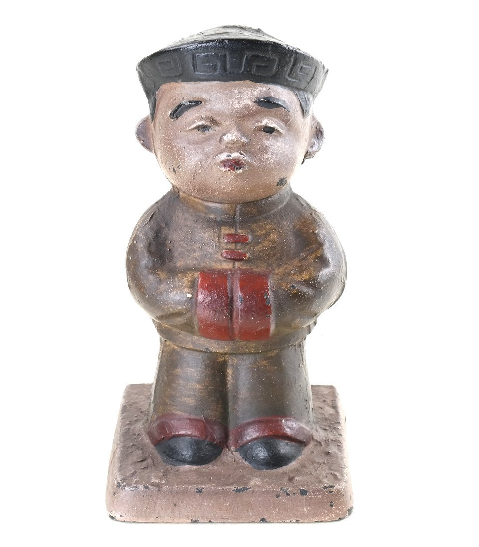 Three Painted Cast Iron Asian Children - 10