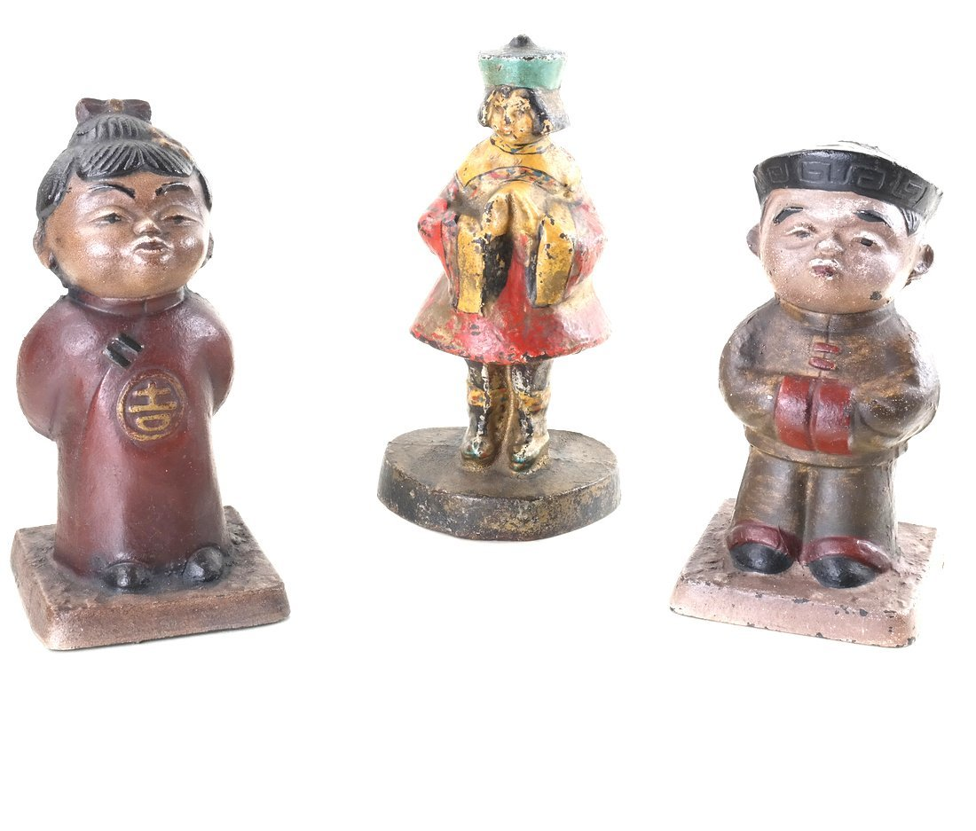 Three Painted Cast Iron Asian Children