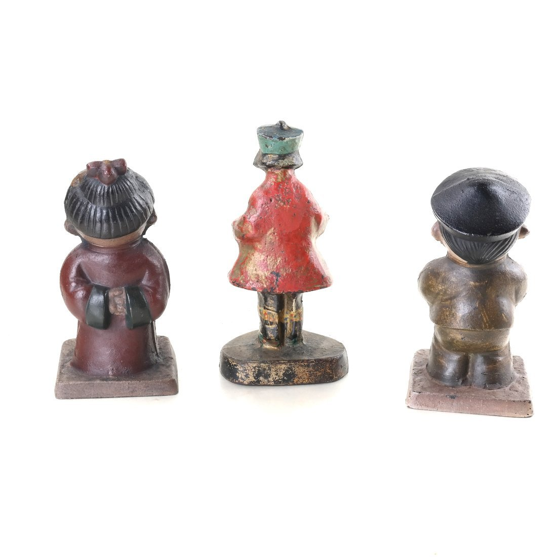 Three Painted Cast Iron Asian Children - 3