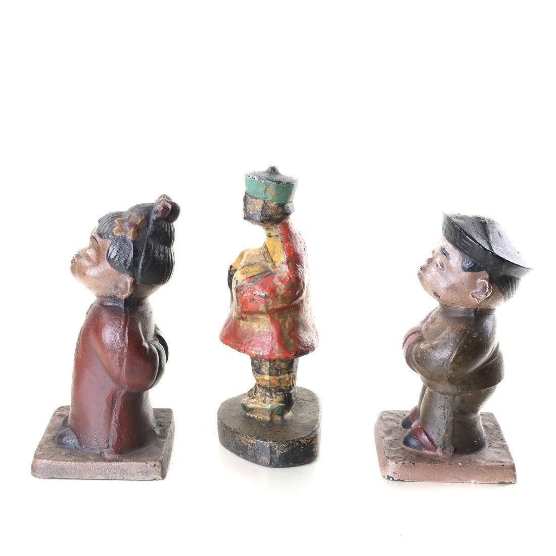 Three Painted Cast Iron Asian Children - 4