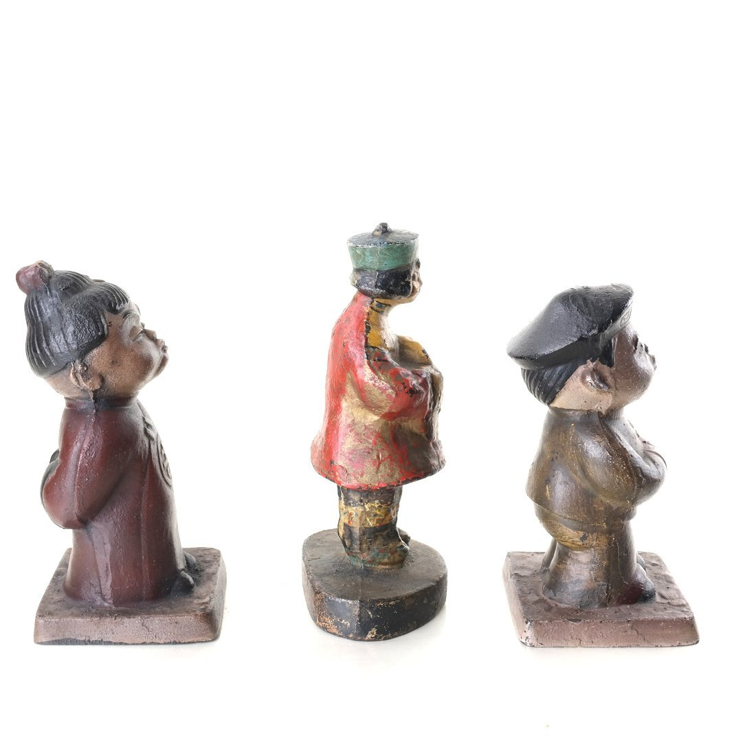 Three Painted Cast Iron Asian Children - 5
