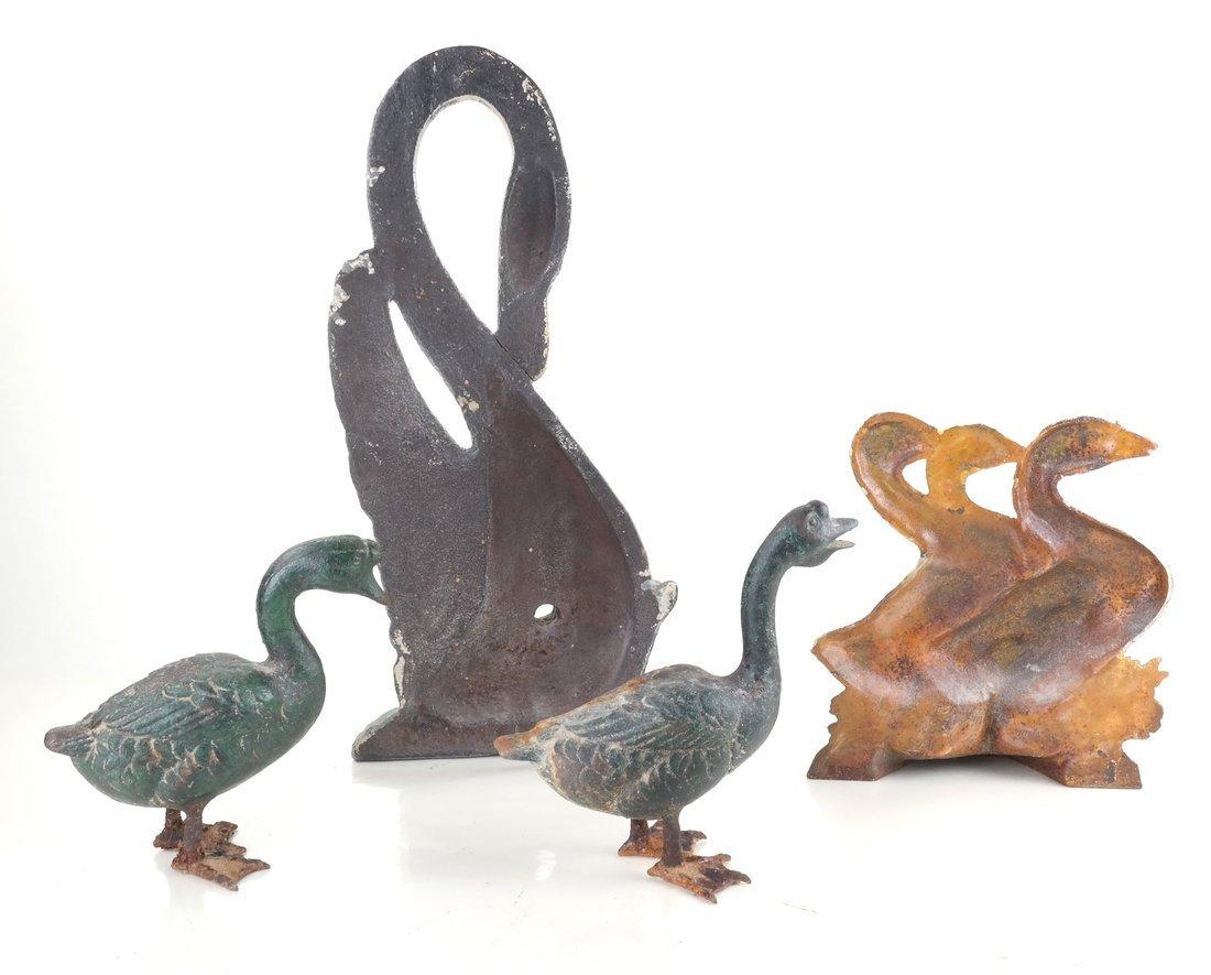 Four Painted Cast Iron Birds - 2