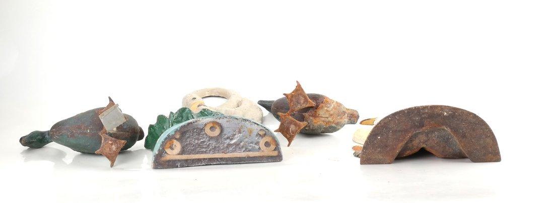 Four Painted Cast Iron Birds - 4