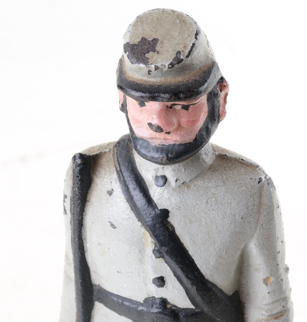 Three Painted Cast Iron Civil War Soldiers Bookend - 10