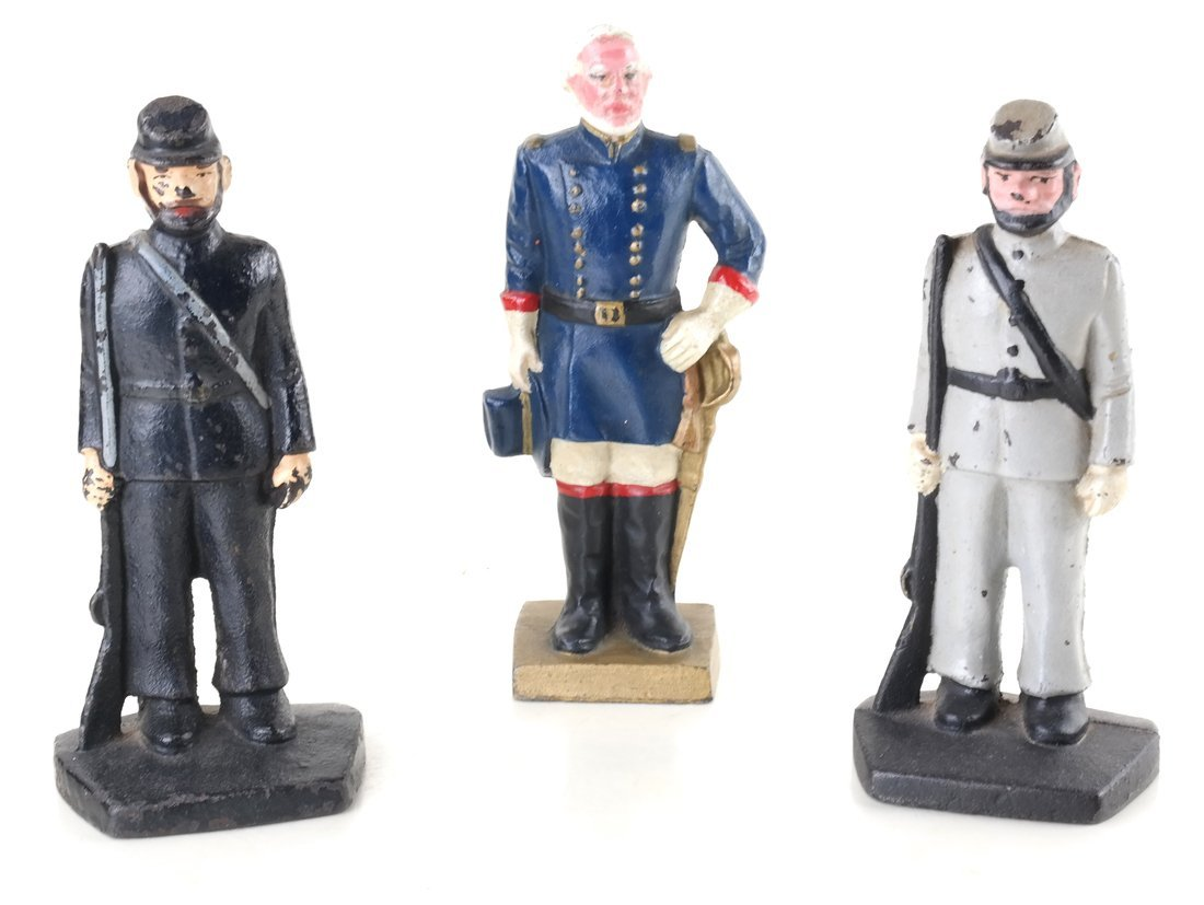 Three Painted Cast Iron Civil War Soldiers Bookend