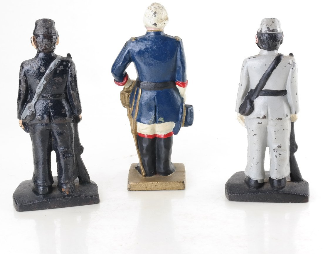 Three Painted Cast Iron Civil War Soldiers Bookend - 2