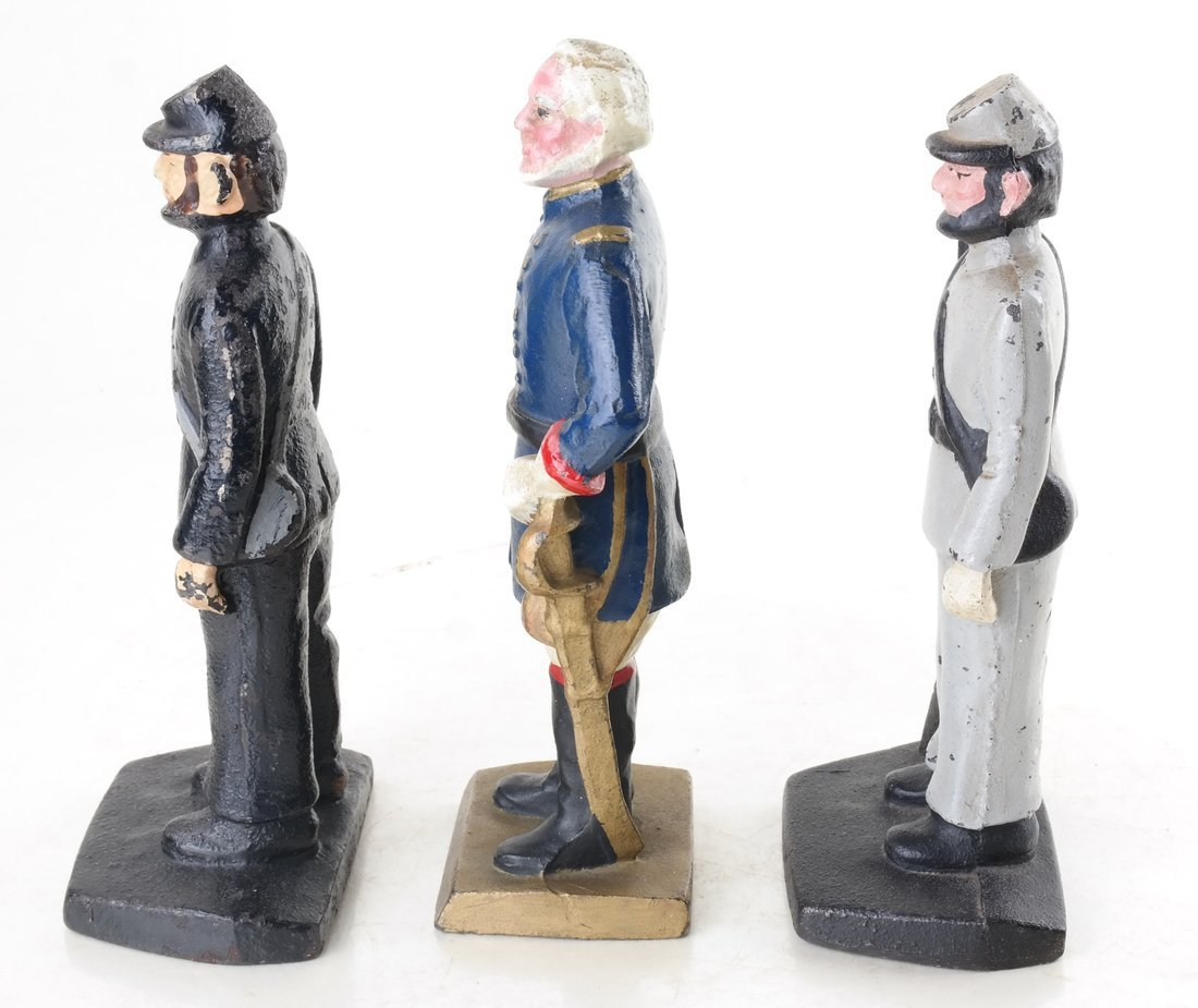Three Painted Cast Iron Civil War Soldiers Bookend - 3