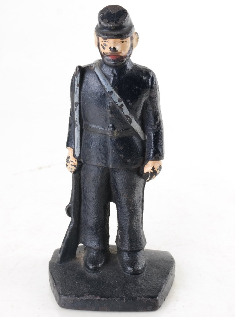 Three Painted Cast Iron Civil War Soldiers Bookend - 5