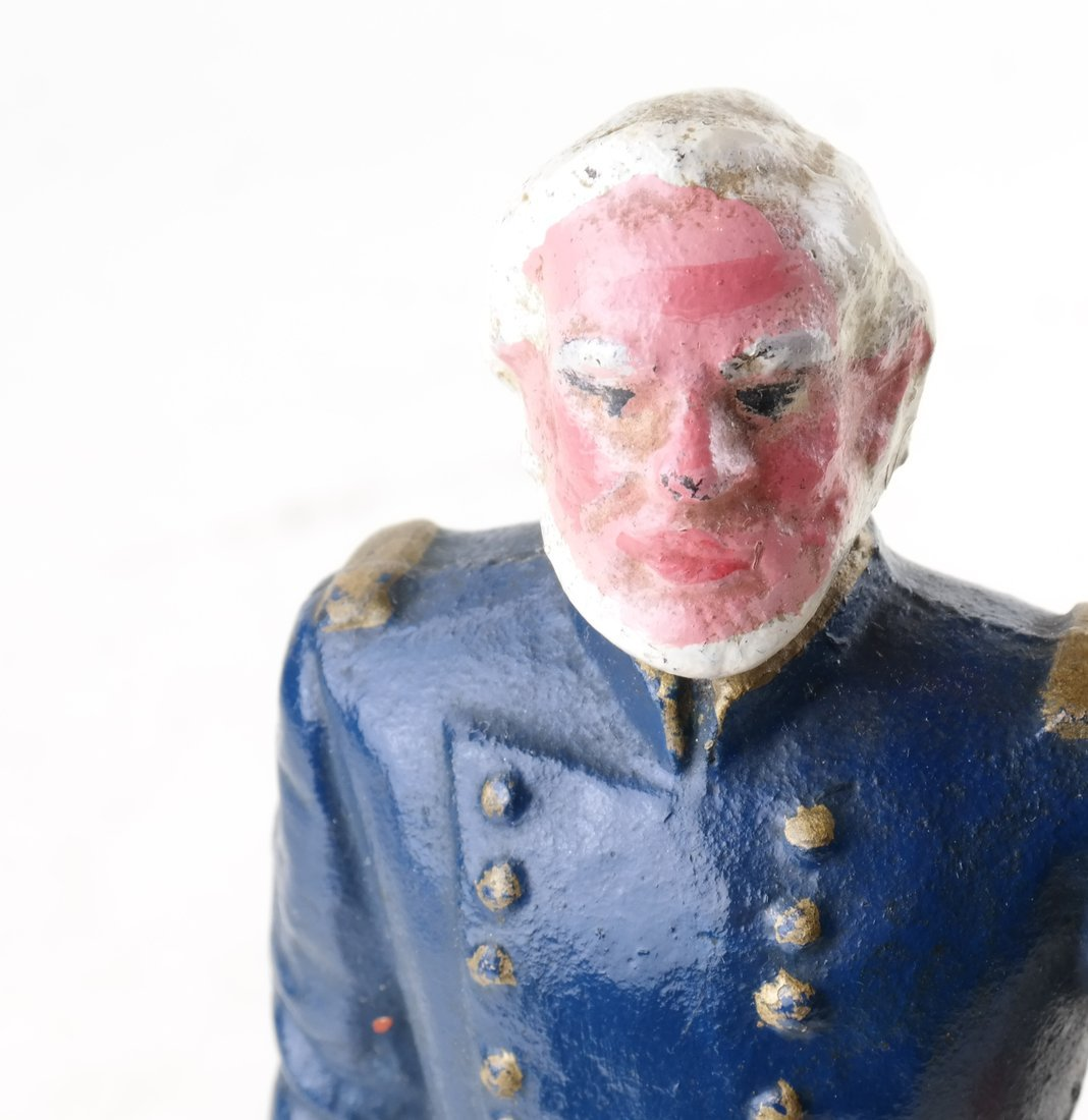Three Painted Cast Iron Civil War Soldiers Bookend - 8
