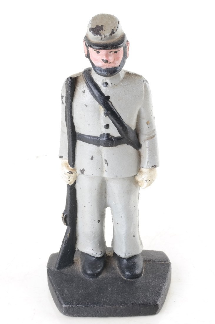 Three Painted Cast Iron Civil War Soldiers Bookend - 9