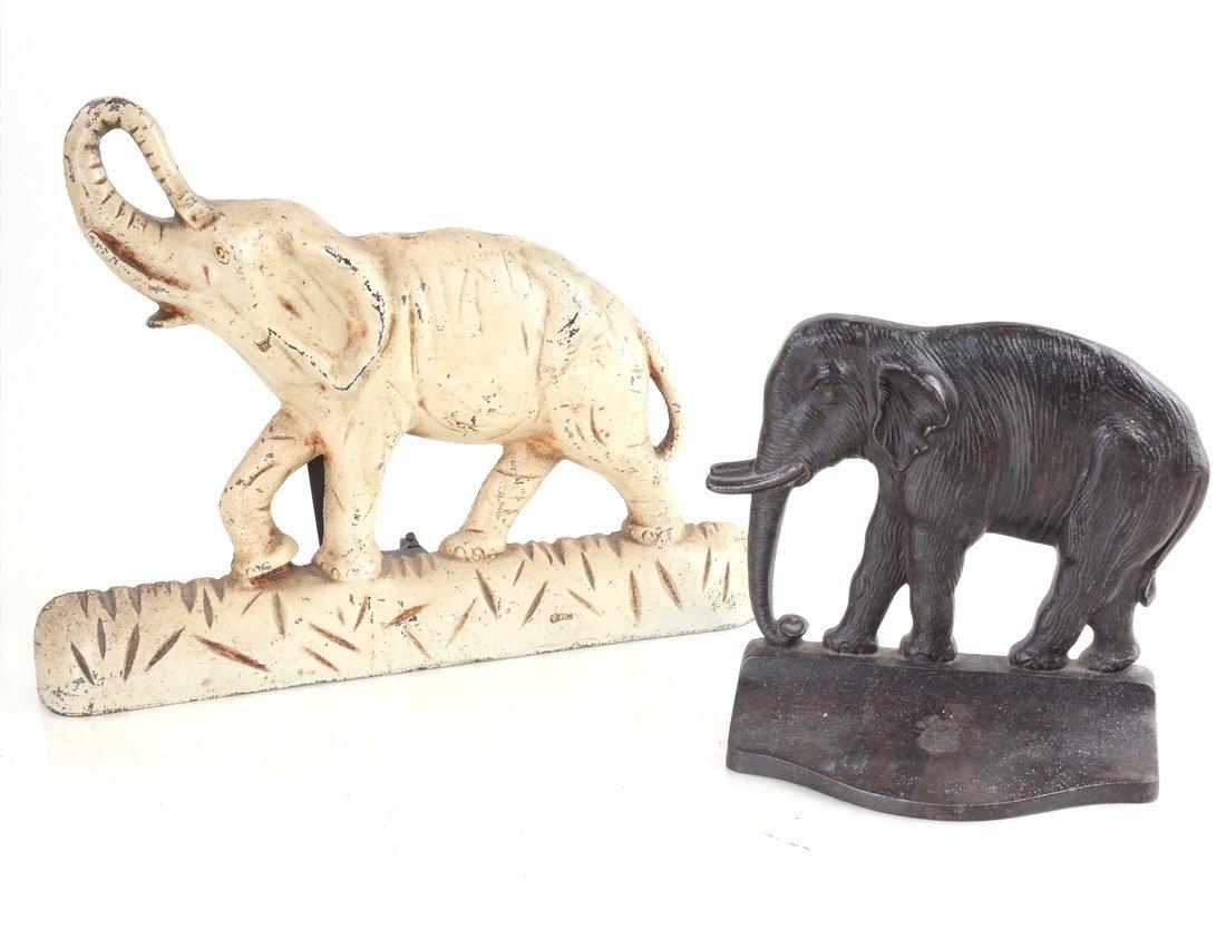 Two Cast Iron Elephants