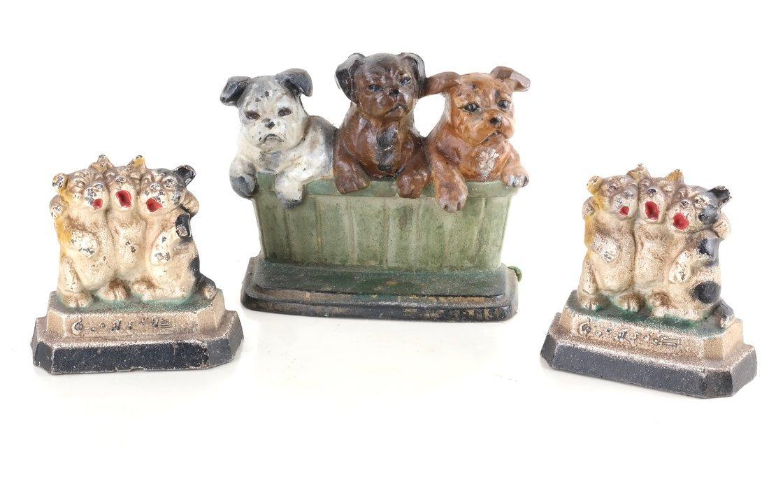 Three Cast Iron Pup Groups