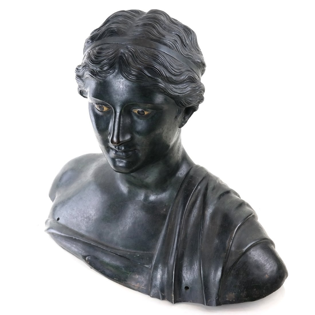 Antique Patinated Bronze Bust, Maiden