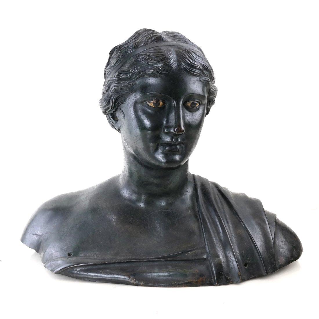Antique Patinated Bronze Bust, Maiden - 2