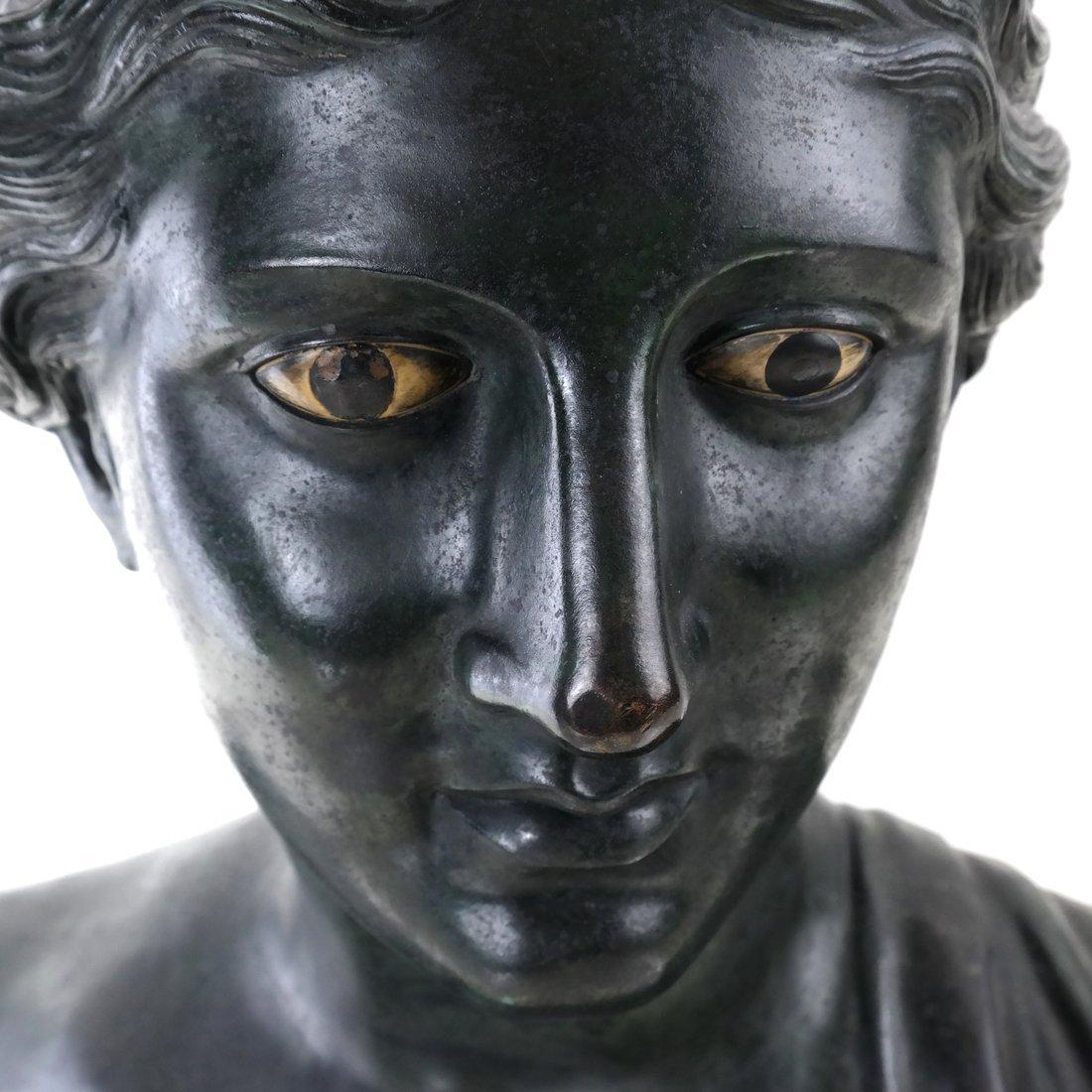 Antique Patinated Bronze Bust, Maiden - 4