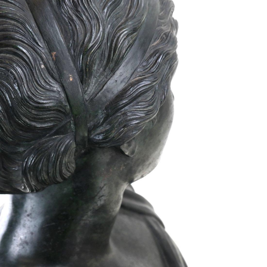 Antique Patinated Bronze Bust, Maiden - 7
