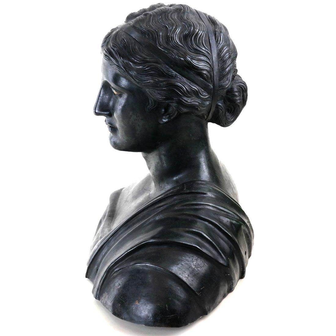 Antique Patinated Bronze Bust, Maiden - 8
