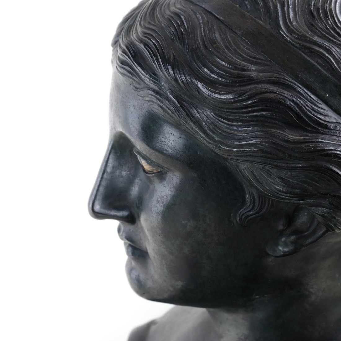 Antique Patinated Bronze Bust, Maiden - 9