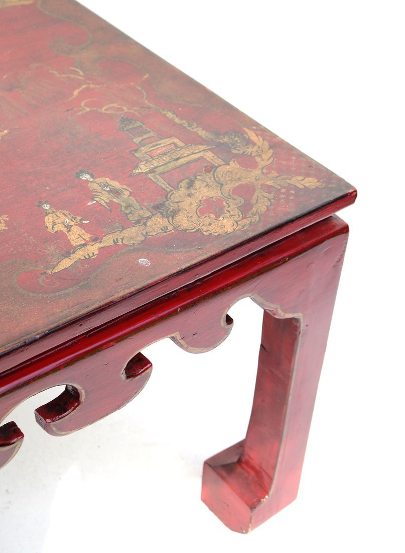 Chinoiserie Red Lacquer Low Table - 2