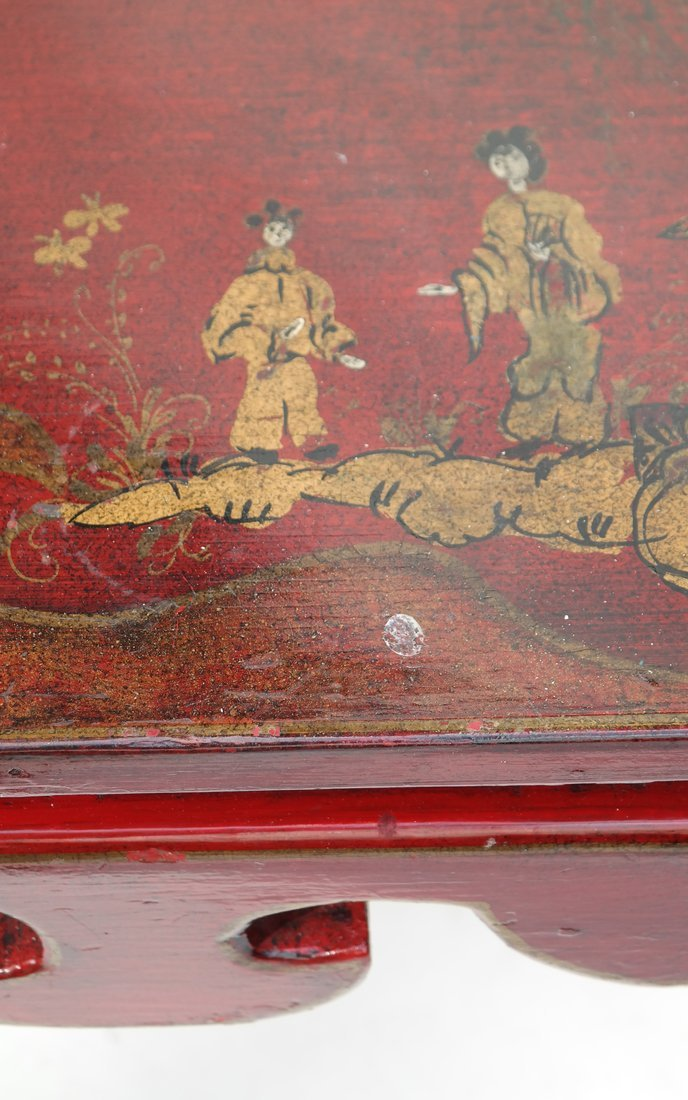 Chinoiserie Red Lacquer Low Table - 6