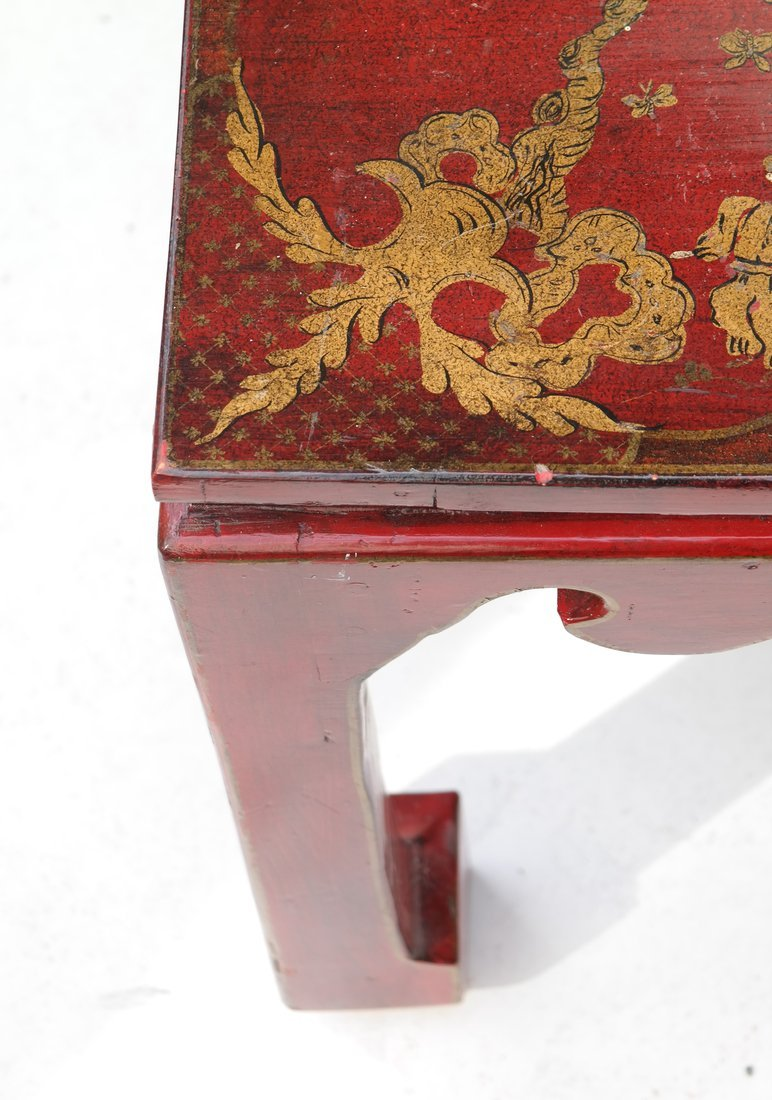 Chinoiserie Red Lacquer Low Table - 8