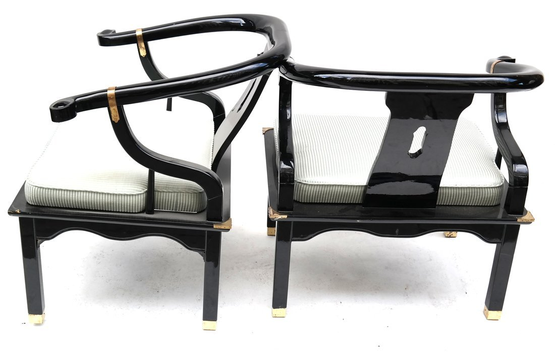 Pair Asian Style Lacquered  Armchairs - 7