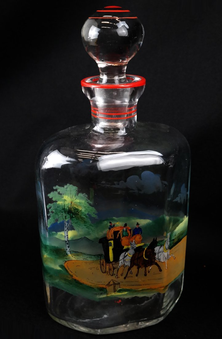 Three Equestrian Enameled Glass Decanters - 2