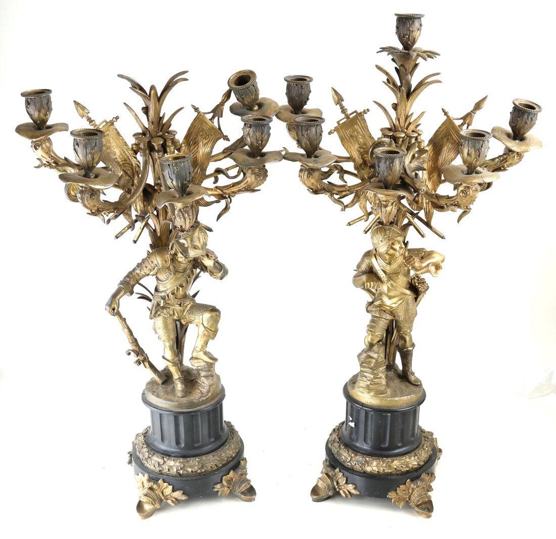 Pair Bronze Figural Six Light Candelabra