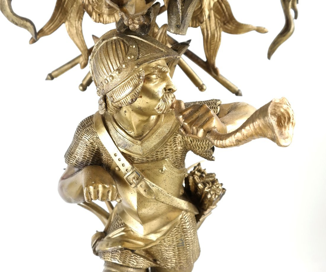 Pair Bronze Figural Six Light Candelabra - 6