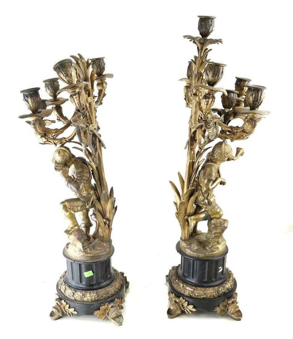 Pair Bronze Figural Six Light Candelabra - 8