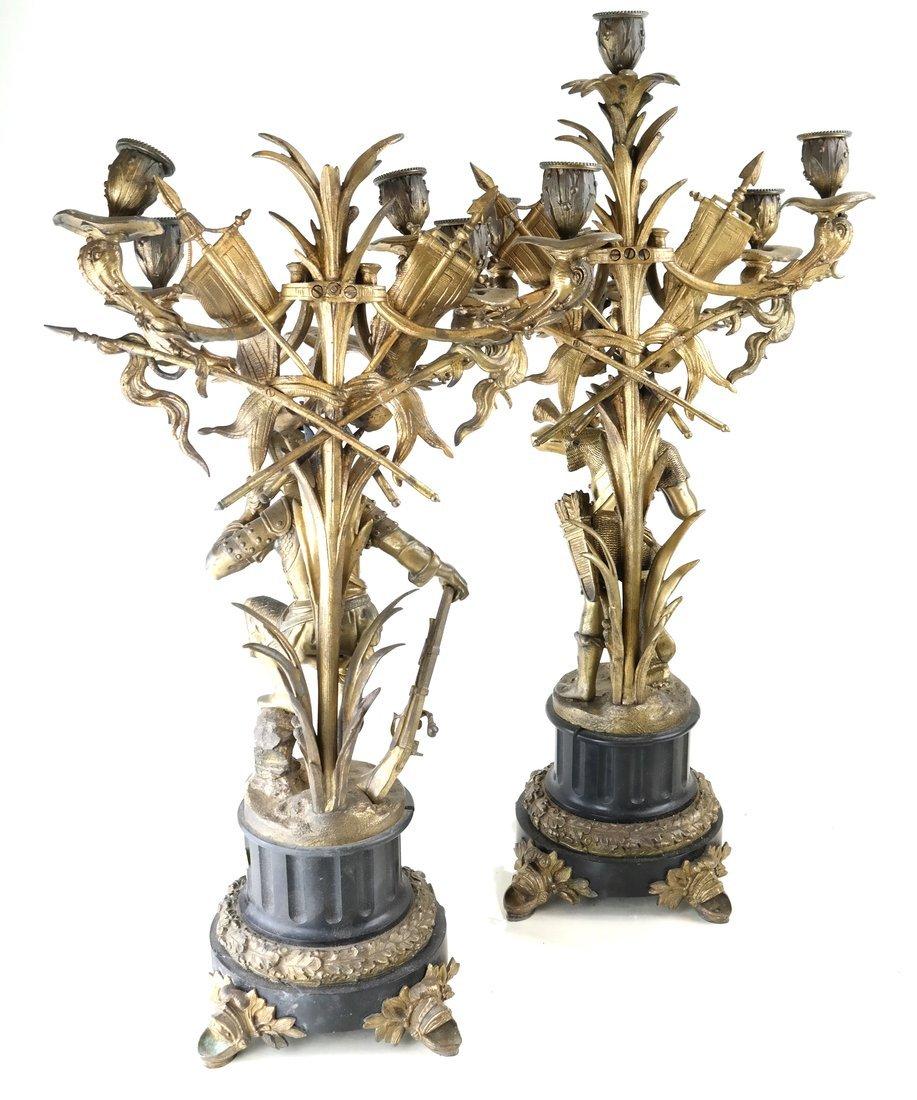 Pair Bronze Figural Six Light Candelabra - 9