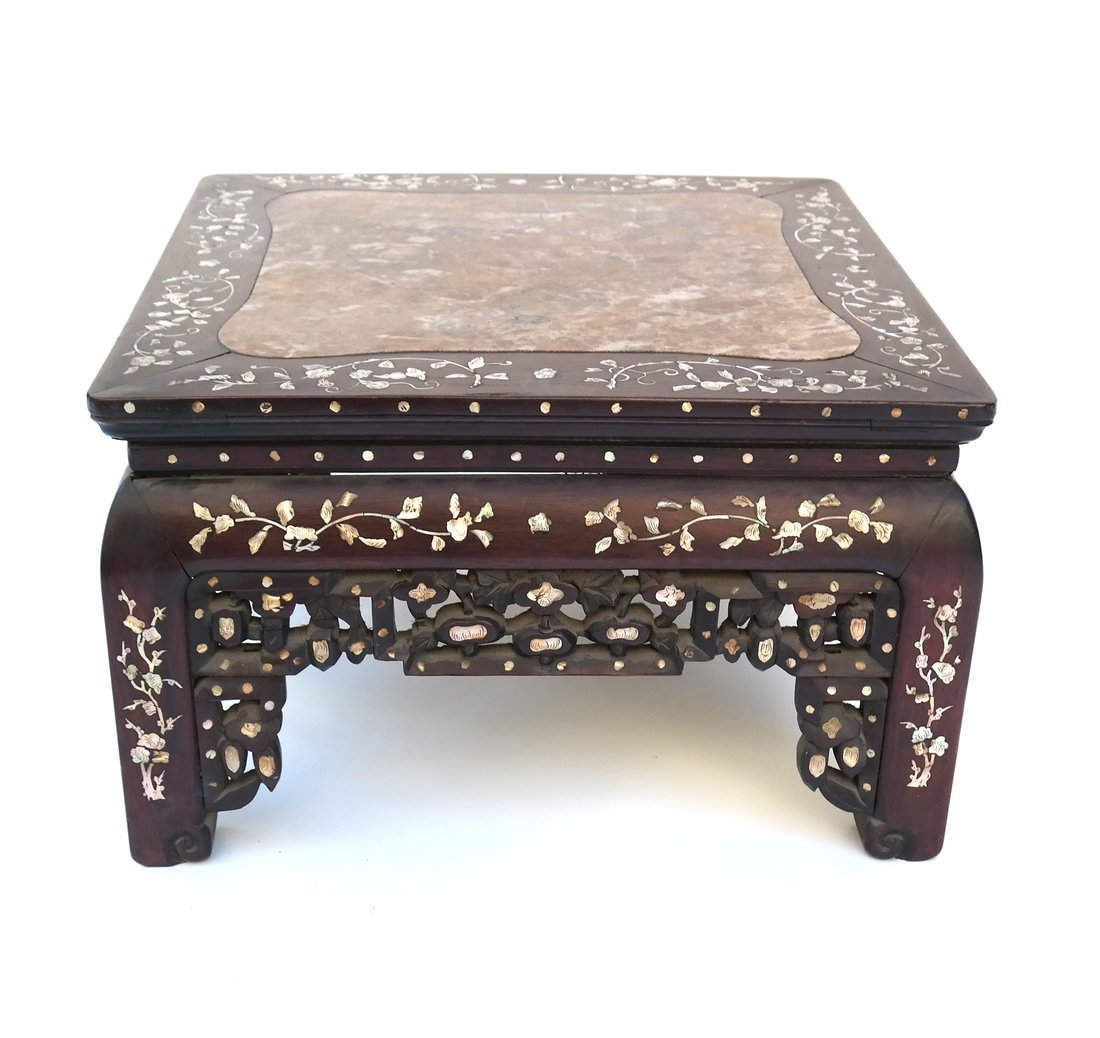 Chinese Marble Inset Hardwood Low Table - 2