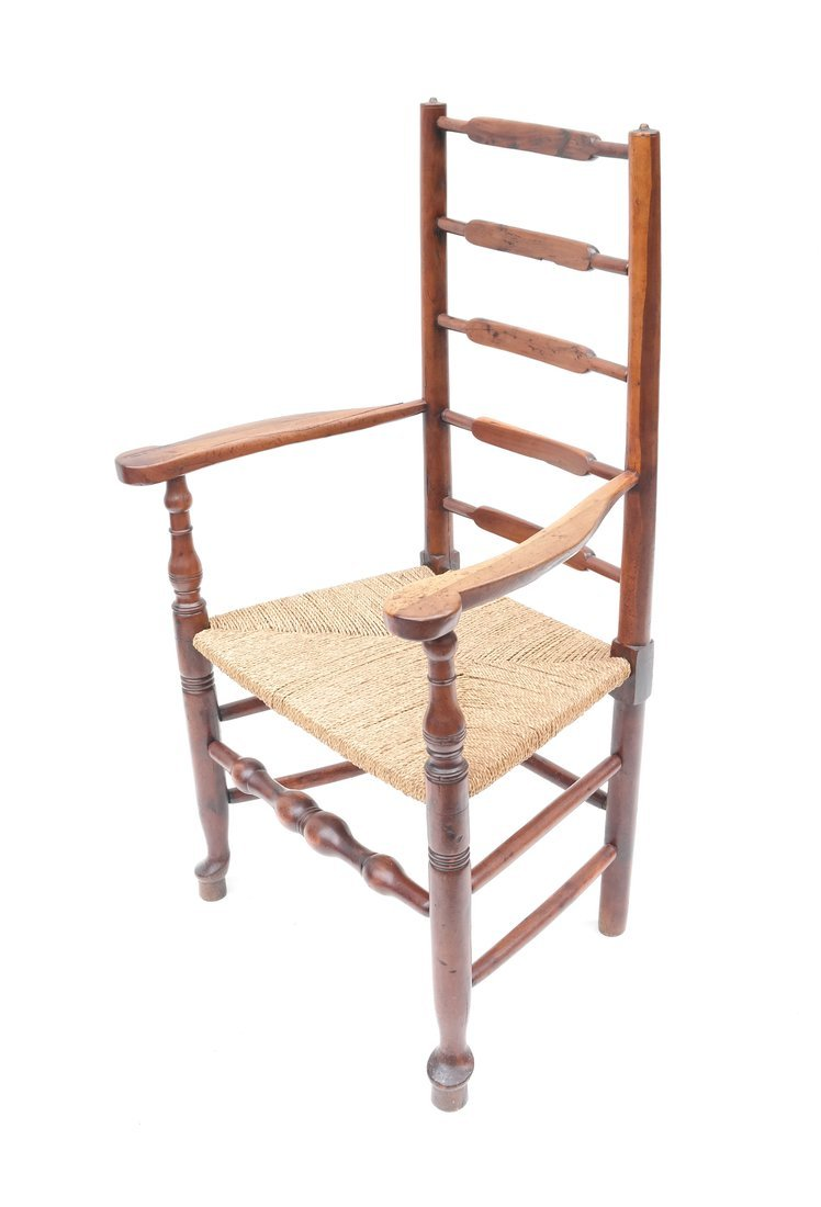 Antique American Ladder Back Armchair