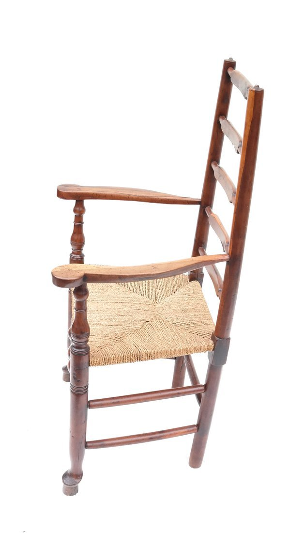 Antique American Ladder Back Armchair - 2