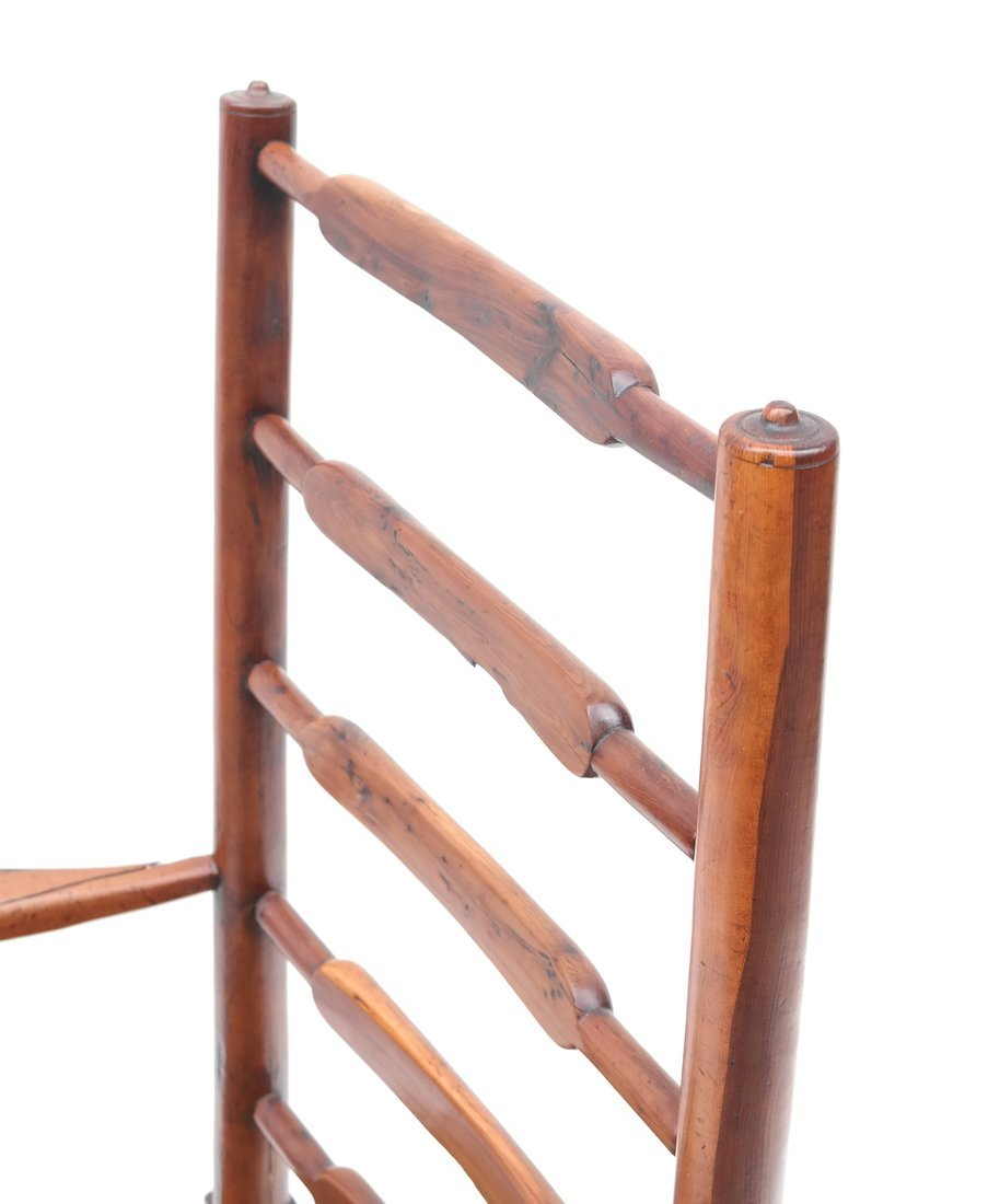 Antique American Ladder Back Armchair - 4